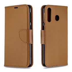 Classic Luxury Litchi Leather Phone Wallet Case for Samsung Galaxy M30 - Brown