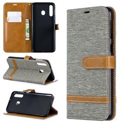 Jeans Cowboy Denim Leather Wallet Case for Samsung Galaxy M30 - Gray