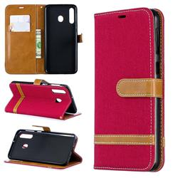 Jeans Cowboy Denim Leather Wallet Case for Samsung Galaxy M30 - Red