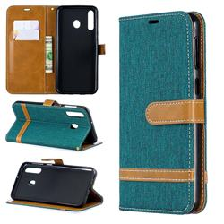 Jeans Cowboy Denim Leather Wallet Case for Samsung Galaxy M30 - Green