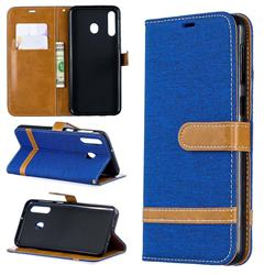 Jeans Cowboy Denim Leather Wallet Case for Samsung Galaxy M30 - Sapphire
