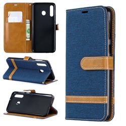 Jeans Cowboy Denim Leather Wallet Case for Samsung Galaxy M30 - Dark Blue