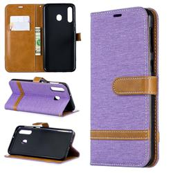 Jeans Cowboy Denim Leather Wallet Case for Samsung Galaxy M30 - Purple