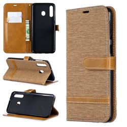 Jeans Cowboy Denim Leather Wallet Case for Samsung Galaxy M30 - Brown