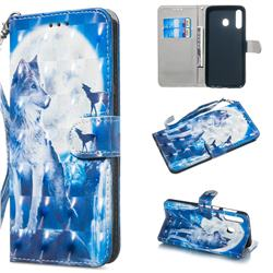 Ice Wolf 3D Painted Leather Wallet Phone Case for Samsung Galaxy M30