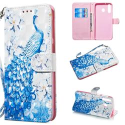 Blue Peacock 3D Painted Leather Wallet Phone Case for Samsung Galaxy M30
