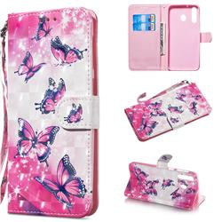 Pink Butterfly 3D Painted Leather Wallet Phone Case for Samsung Galaxy M30