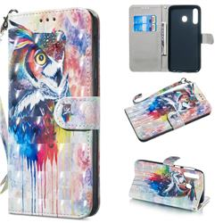 Watercolor Owl 3D Painted Leather Wallet Phone Case for Samsung Galaxy M30