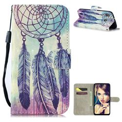 Feather Wind Chimes 3D Painted Leather Wallet Phone Case for Samsung Galaxy M30