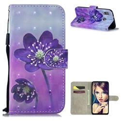 Purple Flower 3D Painted Leather Wallet Phone Case for Samsung Galaxy M30