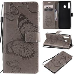 Embossing 3D Butterfly Leather Wallet Case for Samsung Galaxy M30 - Gray
