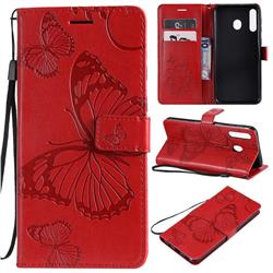 Embossing 3D Butterfly Leather Wallet Case for Samsung Galaxy M30 - Red