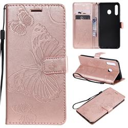 Embossing 3D Butterfly Leather Wallet Case for Samsung Galaxy M30 - Rose Gold