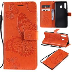 Embossing 3D Butterfly Leather Wallet Case for Samsung Galaxy M30 - Orange