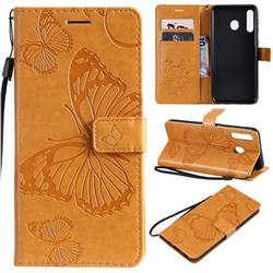 Embossing 3D Butterfly Leather Wallet Case for Samsung Galaxy M30 - Yellow