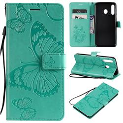 Embossing 3D Butterfly Leather Wallet Case for Samsung Galaxy M30 - Green