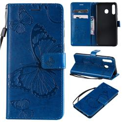 Embossing 3D Butterfly Leather Wallet Case for Samsung Galaxy M30 - Blue