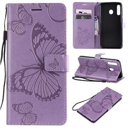 Embossing 3D Butterfly Leather Wallet Case for Samsung Galaxy M30 - Purple