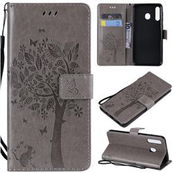 Embossing Butterfly Tree Leather Wallet Case for Samsung Galaxy M30 - Grey
