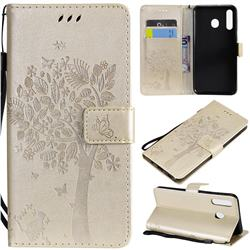 Embossing Butterfly Tree Leather Wallet Case for Samsung Galaxy M30 - Champagne