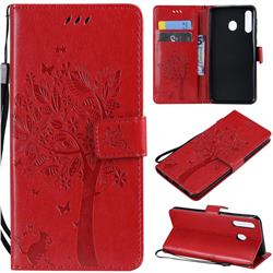 Embossing Butterfly Tree Leather Wallet Case for Samsung Galaxy M30 - Red
