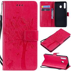 Embossing Butterfly Tree Leather Wallet Case for Samsung Galaxy M30 - Rose