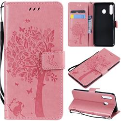 Embossing Butterfly Tree Leather Wallet Case for Samsung Galaxy M30 - Pink