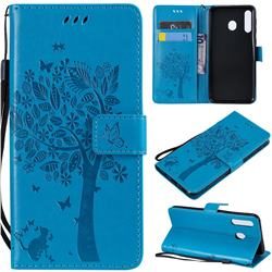 Embossing Butterfly Tree Leather Wallet Case for Samsung Galaxy M30 - Blue