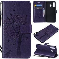 Embossing Butterfly Tree Leather Wallet Case for Samsung Galaxy M30 - Purple