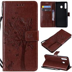 Embossing Butterfly Tree Leather Wallet Case for Samsung Galaxy M30 - Coffee