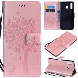 Embossing Butterfly Tree Leather Wallet Case for Samsung Galaxy M30 - Rose Pink