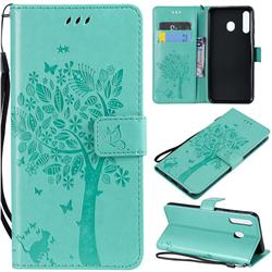 Embossing Butterfly Tree Leather Wallet Case for Samsung Galaxy M30 - Cyan
