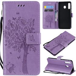 Embossing Butterfly Tree Leather Wallet Case for Samsung Galaxy M30 - Violet