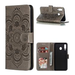 Intricate Embossing Datura Solar Leather Wallet Case for Samsung Galaxy M30 - Gray