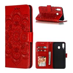 Intricate Embossing Datura Solar Leather Wallet Case for Samsung Galaxy M30 - Red
