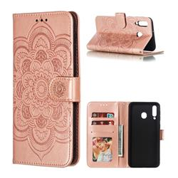 Intricate Embossing Datura Solar Leather Wallet Case for Samsung Galaxy M30 - Rose Gold