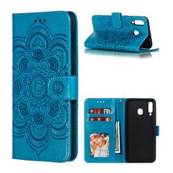 Intricate Embossing Datura Solar Leather Wallet Case for Samsung Galaxy M30 - Blue