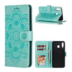 Intricate Embossing Datura Solar Leather Wallet Case for Samsung Galaxy M30 - Green