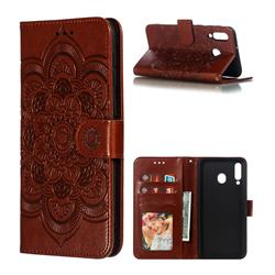 Intricate Embossing Datura Solar Leather Wallet Case for Samsung Galaxy M30 - Brown