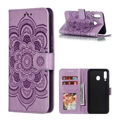 Intricate Embossing Datura Solar Leather Wallet Case for Samsung Galaxy M30 - Purple