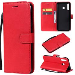 Retro Greek Classic Smooth PU Leather Wallet Phone Case for Samsung Galaxy M30 - Red