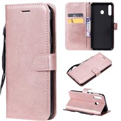Retro Greek Classic Smooth PU Leather Wallet Phone Case for Samsung Galaxy M30 - Rose Gold