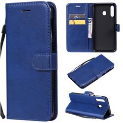 Retro Greek Classic Smooth PU Leather Wallet Phone Case for Samsung Galaxy M30 - Blue