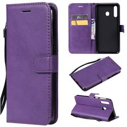Retro Greek Classic Smooth PU Leather Wallet Phone Case for Samsung Galaxy M30 - Purple