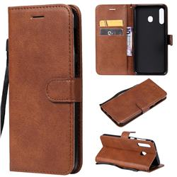 Retro Greek Classic Smooth PU Leather Wallet Phone Case for Samsung Galaxy M30 - Brown