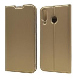 Ultra Slim Card Magnetic Automatic Suction Leather Wallet Case for Samsung Galaxy M30 - Champagne