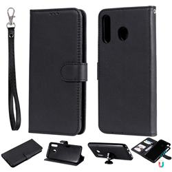 Retro Greek Detachable Magnetic PU Leather Wallet Phone Case for Samsung Galaxy M30 - Black