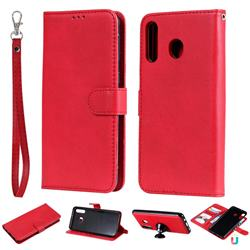 Retro Greek Detachable Magnetic PU Leather Wallet Phone Case for Samsung Galaxy M30 - Red