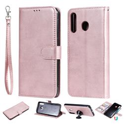 Retro Greek Detachable Magnetic PU Leather Wallet Phone Case for Samsung Galaxy M30 - Rose Gold