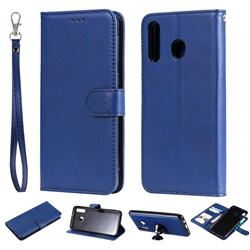 Retro Greek Detachable Magnetic PU Leather Wallet Phone Case for Samsung Galaxy M30 - Blue